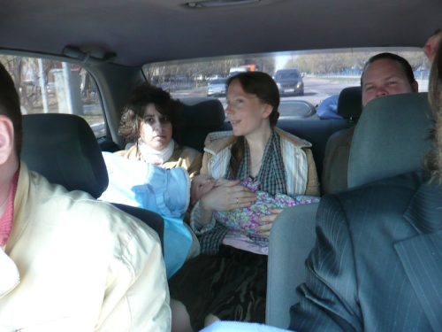 On the way with the future godparents