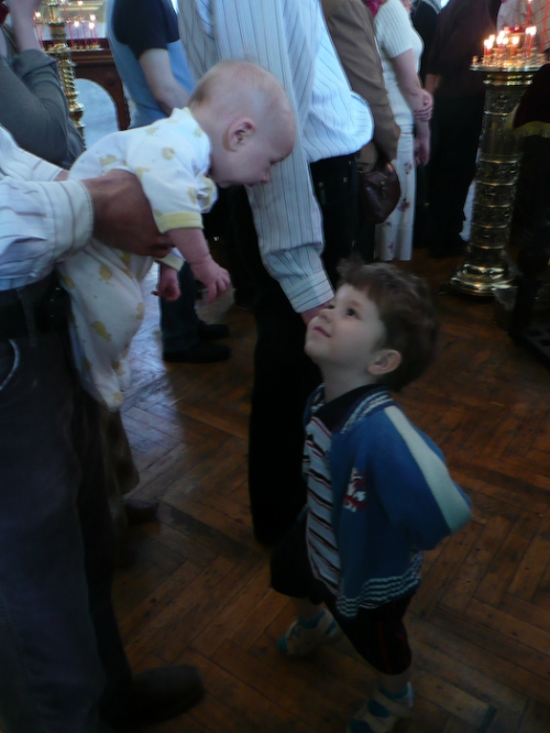 This boy at church was quite interested in catching Tryphon's eye