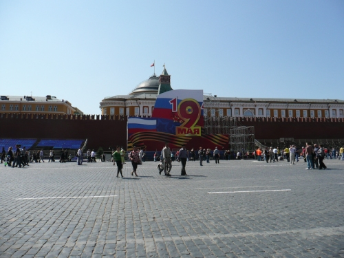 I'm glad to report that the main stage, from which dignitaries watched the Victory Day parade on Red Square, completely covered up Lenin's mausoleum